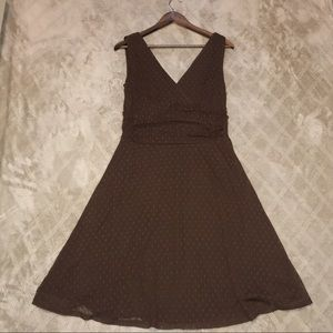 Brown polka dot sheer lined dress summer spring